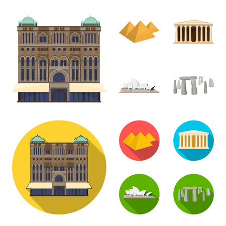 Sights of different countries cartoon,flat icons in set collection for design. Famous building vector symbol stock web illustration.  イラスト・ベクター素材