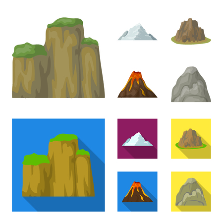 Sheer cliffs, a volcanic eruption, a mountain with a beach, a glacier. Different mountains set collection icons in cartoon,flat style vector symbol stock illustration web. 矢量图像