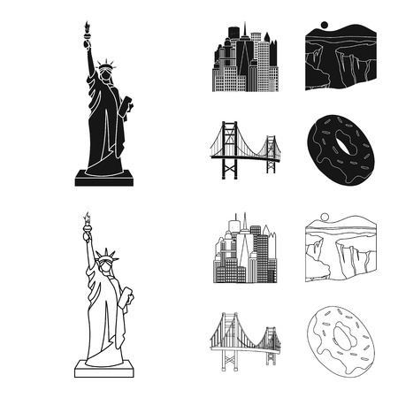 A megacity, a grand canyon, a golden gate bridge,donut with chocolate. The US country set collection icons in black,outline style vector symbol stock illustration web.