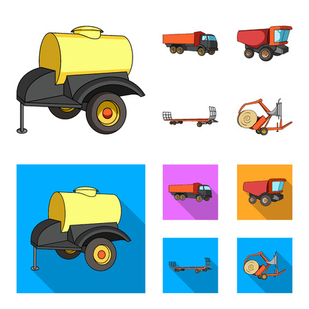 Trailer with a barrel, truck and other agricultural devices. Agricultural machinery set collection icons in cartoon,flat style vector symbol stock illustration web. Illustration