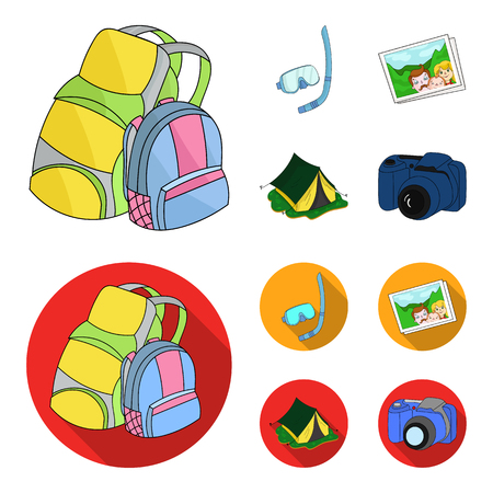 Travel, vacation, backpack, luggage .Family holiday set collection icons in cartoon,flat style vector symbol stock illustration .