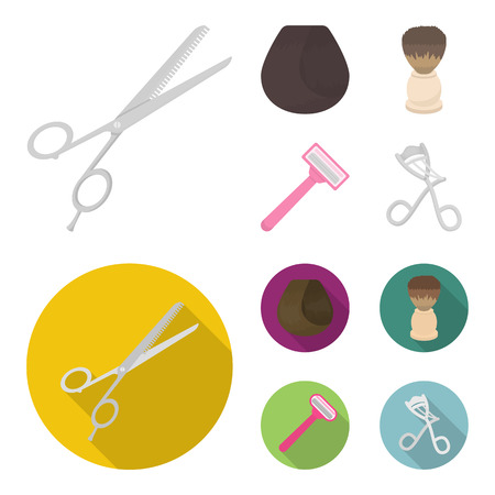 Scissors, brush, razor and other equipment. Hairdresser set collection icons in cartoon,flat style vector symbol stock illustration web. Illustration