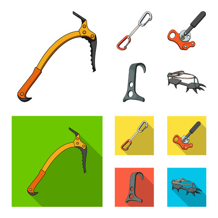 An ice ax, a carbine and other equipment.Mountaineering set collection icons in cartoon,flat style vector symbol stock illustration web. Illustration