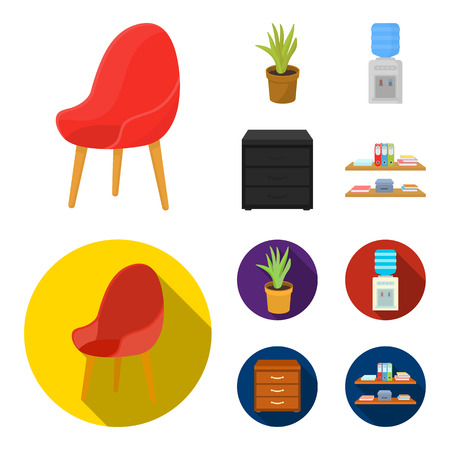 A red chair with a comfortable back, an aloe flower in a pot, an apparatus with clean water, a cabinet for office papers. Office Furniture set collection icons in cartoon,flat style vector symbol stock illustration . 向量圖像