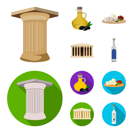 Greece, country, tradition, landmark .Greece set collection icons in cartoon,flat style vector symbol stock illustration .