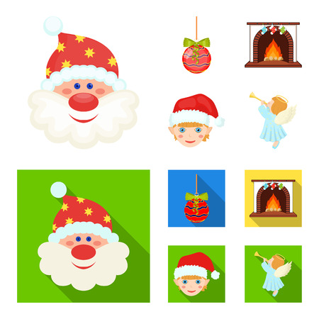 Santa Claus, dwarf, fireplace and decoration cartoon,flat icons in set collection for design. Christmas vector symbol stock  illustration.