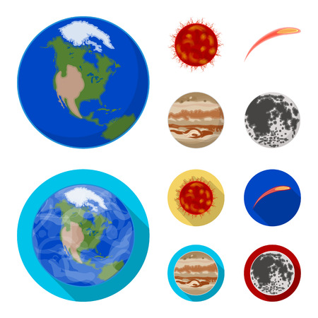 Earth, Jupiter, the Sun of the Planet of the Solar System. Asteroid, meteorite. Planets set collection icons in cartoon,flat style vector symbol stock illustration . Illustration