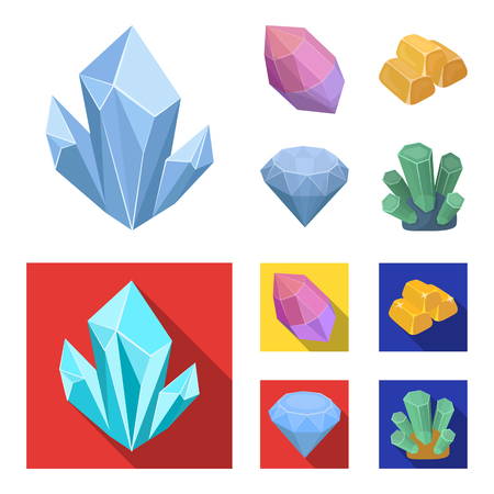 Crystals, minerals, gold bars. Precious minerals and jeweler set collection icons in cartoon,flat style vector symbol stock illustration .