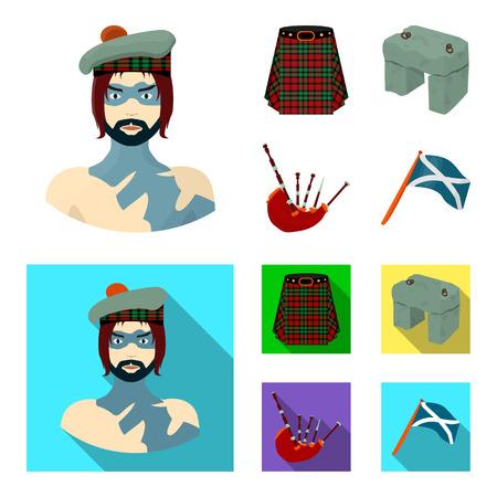 Highlander, Scottish Viking, tartan, kilt, scottish skirt, scone stone, national musical instrument of bagpipes. Scotland set collection icons in cartoon,flat style vector symbol stock illustration . Ilustração
