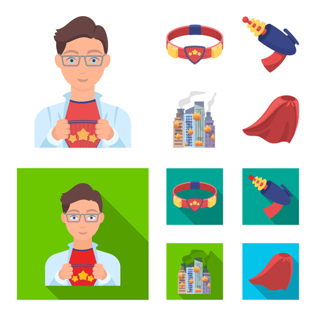 Man, young, glasses, and other web icon in cartoon,flat style. Superman, belt, gun icons in set collection.