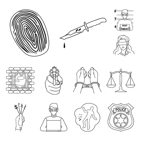 Crime and Punishment outline icons in set collection for design.Criminal vector symbol stock web illustration.