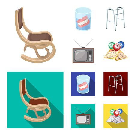 Denture, rocking chair, walker, old TV.Old age set collection icons in cartoon,flat style vector symbol stock illustration web.