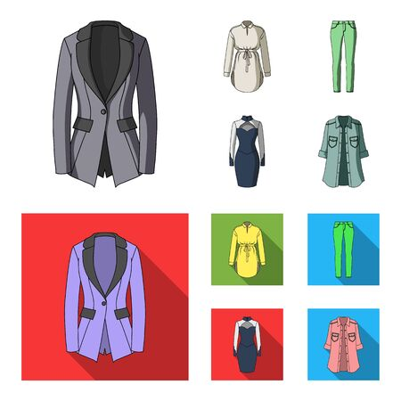 Women Clothing cartoon,flat icons in set collection for design.Clothing Varieties and Accessories vector symbol stock web illustration.