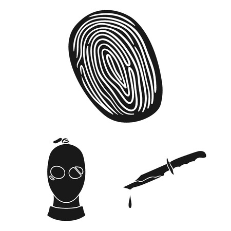 Crime and Punishment black icons in set collection for design.