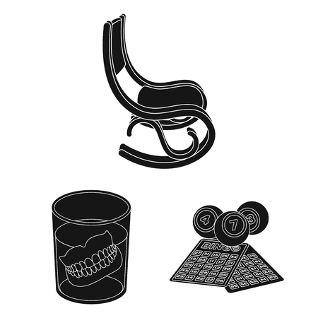 Human old age black icons in set collection for design. Illustration