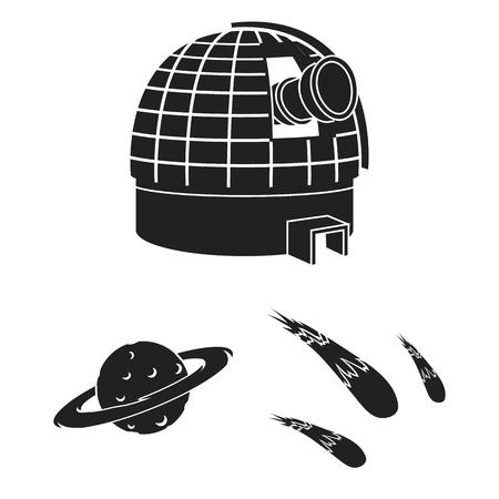 Spacecraft and equipment vector symbol stock illustration.