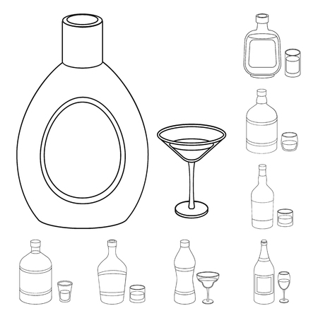 Types of alcohol outline icons in set collection for design. Alcohol in bottles vector symbol stock web illustration. Vector Illustration