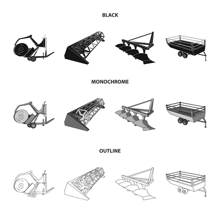 Agricultural machinery set collection icons