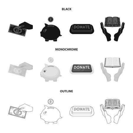 Charity and donation set collection icons Ilustração