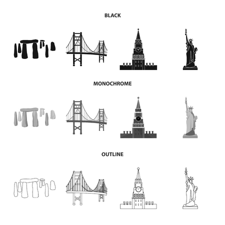 Sights of different countries black,monochrome,outline icons in set collection for design. Famous building vector symbol stock web illustration. Illustration