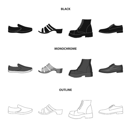 A set of icons on a variety of shoes.Different shoes single icon in black,monochrome,outline style vector web symbol stock illustration.