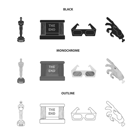 Award, movie screen, 3D glasses. Films and film set collection icons in black monochrome outline style vector symbol stock illustration