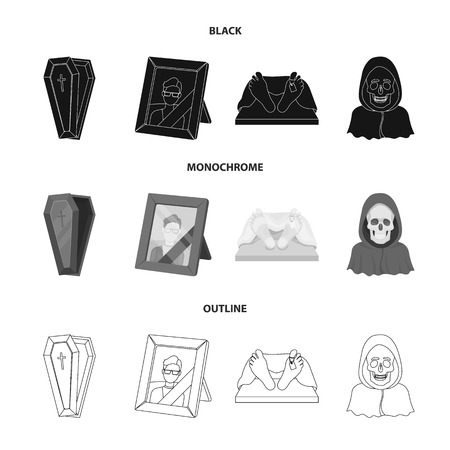 Coffin, photograph, corpse, death in a hood. Funeral ceremony set collection icons in black monochrome outline style vector symbol stock illustration