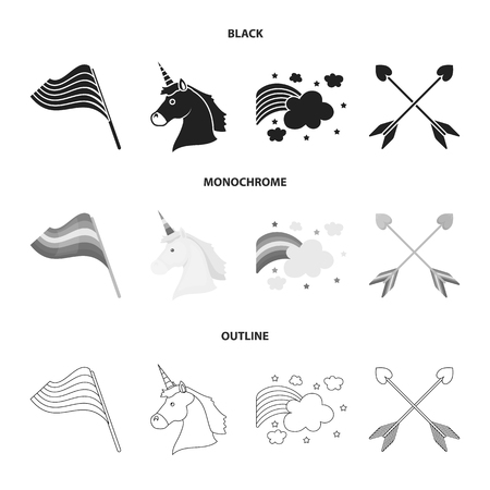 Flag, unicorn symbol, arrows with heart. Gay set collection icons in black monochrome outline style vector symbol stock illustration