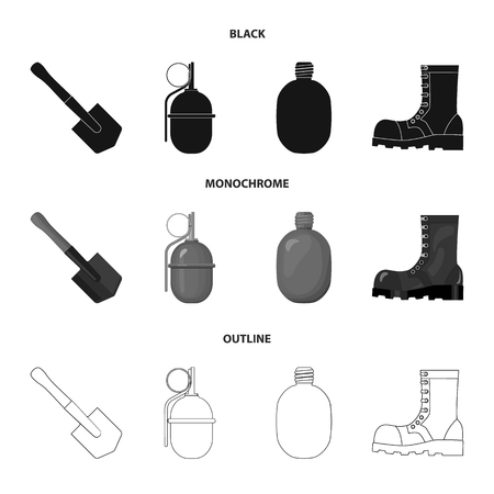 Military and army set collection icons in black,monochrome,outline style vector symbol stock illustration . Ilustração