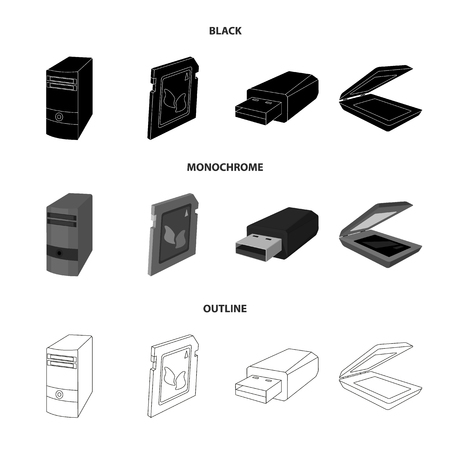 A system unit, a flash drive, a scanner and a SD card. Personal computer set collection icons in black monochrome outline style vector symbol stock illustration Фото со стока - 99119385