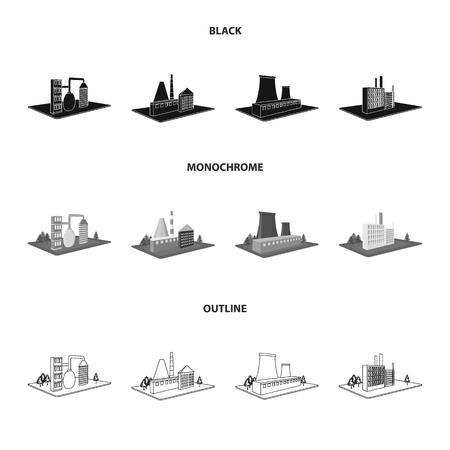 Fabriek en industrie set collectie iconen Stock Illustratie