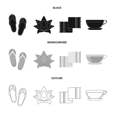 Flip-flops for the pool, cup with tea, drink. Spa set collection icons in black,monochrome,outline style vector symbol stock illustration web. Vectores