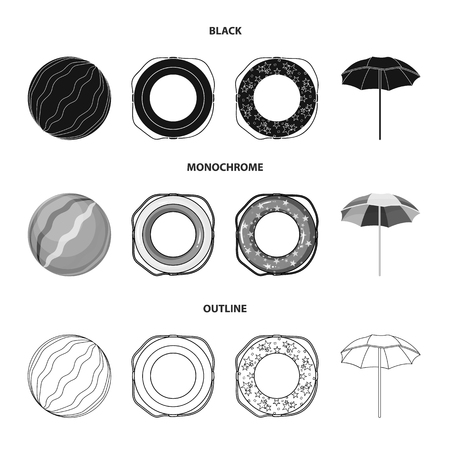 Multicolored swimming circle black,outline icons in set collection for design. Different lifebuoys vector symbol stock web illustration.