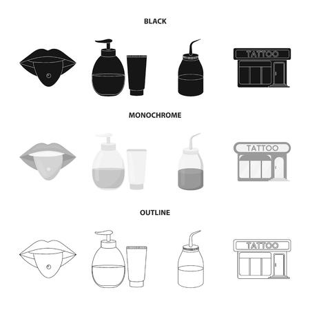 Piercing dans la langue, gel, sallon. Tatouage set collection icônes en noir, monochrome, contour style vecteur symbole stock illustration web.