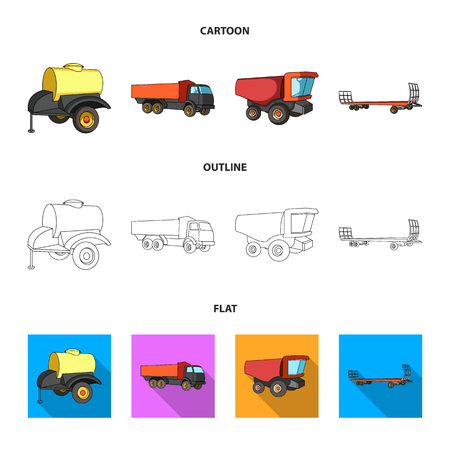 Trailer with a barrel, truck and other agricultural devices. Agricultural set collection icons in cartoon,outline,flat style vector symbol stock illustration web.