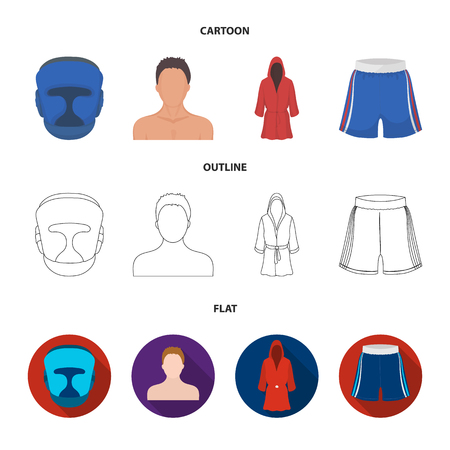 Boxing, sport, mask, helmet.Boxing set collection icons in cartoon,outline,flat style vector symbol stock illustration web. Çizim