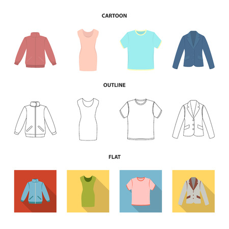 A mans jacket, a tunic, a T-shirt, a business suit. Clothes set collection icons in cartoon outline flat style vector symbol stock illustration