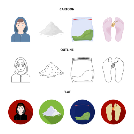 Drug addiction collection icons in cartoon, outline, flat style vector symbol stock illustration .