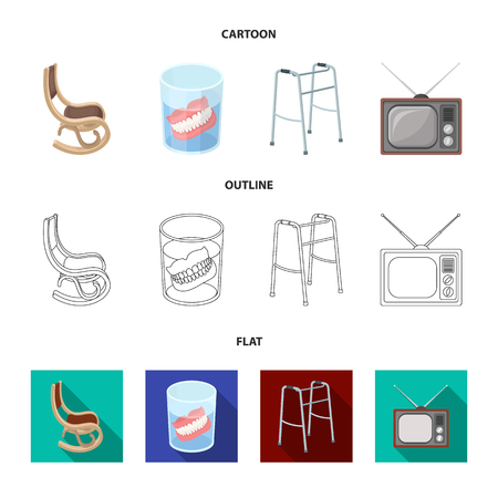 Denture, rocking chair, walker, old TV.Old age set collection icons in cartoon,outline,flat style vector symbol stock illustration web.