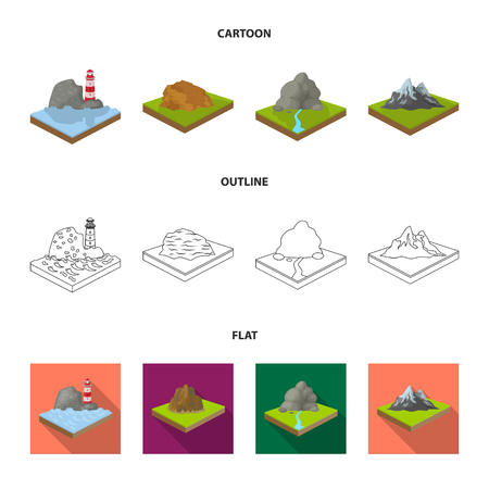 Relief and mountains set collection icons in cartoon, outline, flat style isometric vector symbol stock illustration .