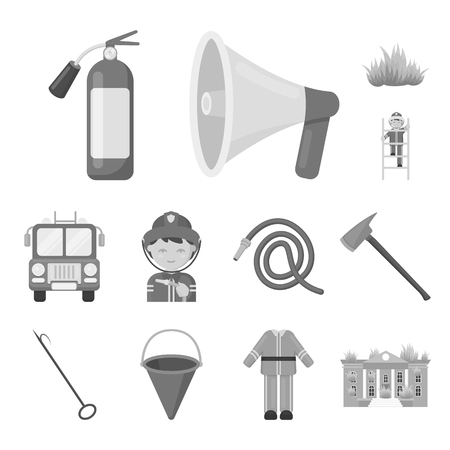 Fire Department monochrome icons in set collection for design. Firefighters and equipment vector symbol stock  illustration.