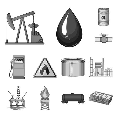 Oil industry monochrome icons in set collection for design. Equipment and oil production vector symbol stock  illustration. Иллюстрация