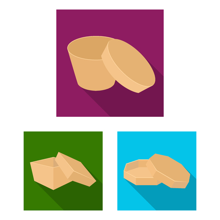 Different boxes flat icons in set collection for design.Packing box vector symbol stock  illustration. Ilustração