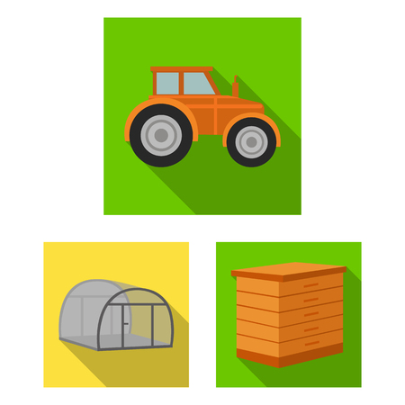 Farm and gardening flat icons in set collection for design. Farm and equipment vector symbol stock  illustration.