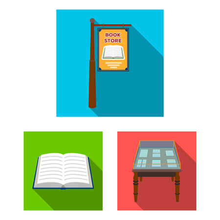 Library and bookstore flat icons in set collection for design. Books and furnishings vector symbol stock illustration.