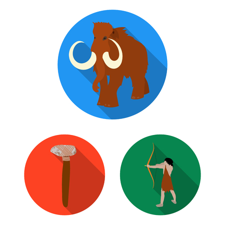 Life in the Stone Age flat icons in set collection for design. Ancient people vector symbol stock illustration. Иллюстрация