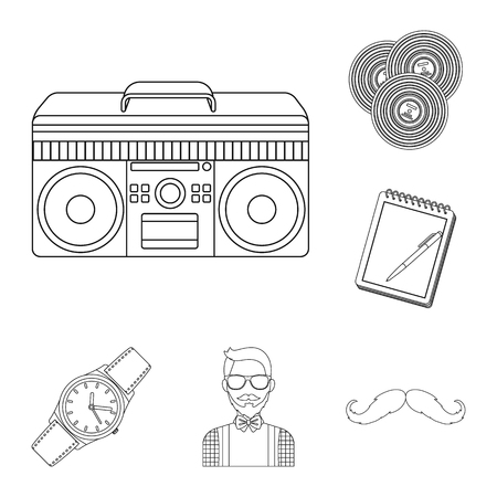 Style Hipster outline icons in set collection for design. Hipster Attributes and accessories vector symbol stock illustration.