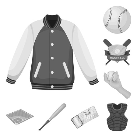 Baseball and attributes monochrome icons in set collection for design. Baseball player and equipment vector symbol stock illustration.
