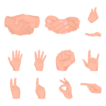 Hand gesture cartoon icons in set collection for design. Palm and finger vector symbol stock web illustration.