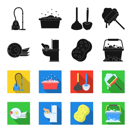 Cleaning and maid black,flet icons in set collection for design. Equipment for cleaning vector symbol stock  illustration.